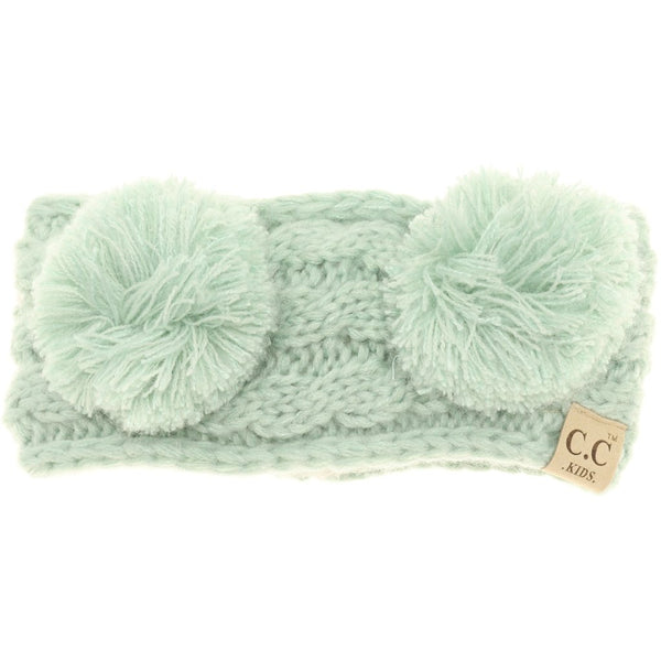 Kids Solid Double Pom Head Wrap | CC Beanie