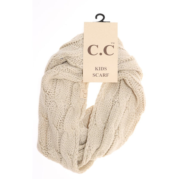 Kids Solid Cable Knit CC Infinity Scarf | CC Beanie