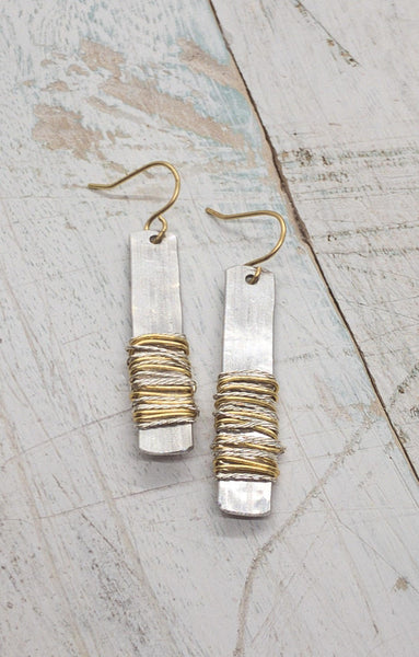 Mixed Metal Wire Wrapped Rectangle Earrings | Kitzi