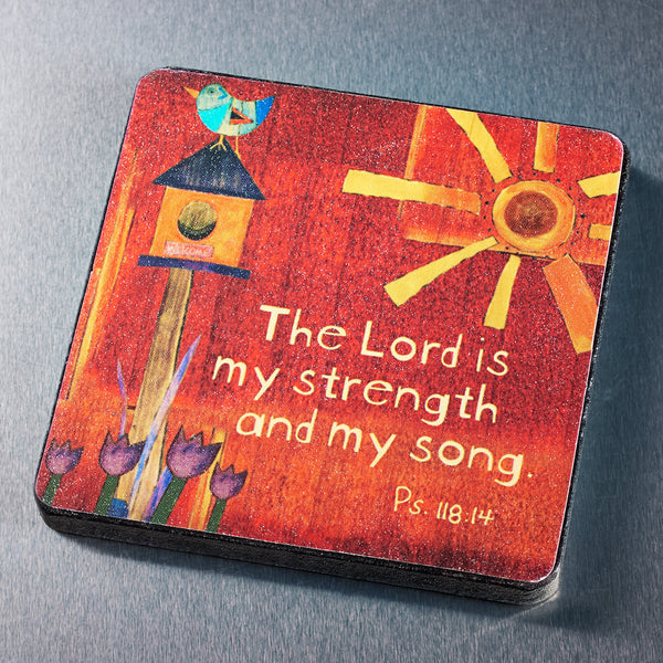 The Lord is My Strength Wood Magnet