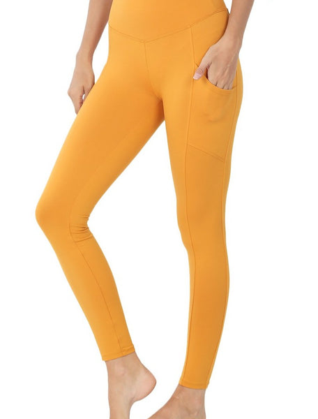 Brushed Microfiber Full Length Leggings with Pockets - Ash Mustard