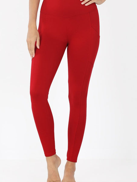 Brushed Microfiber Full Length Leggings with Pockets - Red