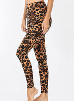 Leopard Print Brushed Microfiber Full Length Leggings