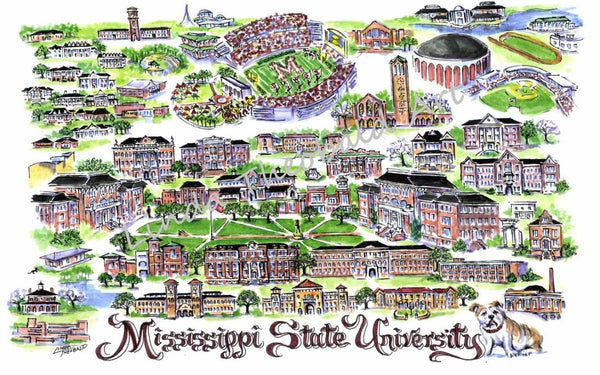 "Mississippi State University ""Hail State"" Print by Linda Theobald Art"