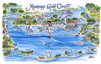 Mississippi Gulf Coast Limited Edition Print by Linda Theobald Art Navy Mat