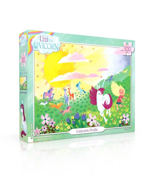Uni The Unicorn Unicorn Frolic 100 Piece Jigsaw Puzzle | New York Puzzle Company