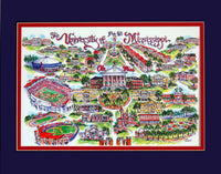 "University of Mississippi  ""Ole Miss Rebels"" by Linda Theobald Art"
