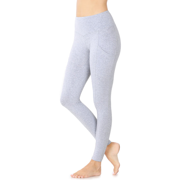 Wide Waistband Leggings with Side Pockets in Heather Grey