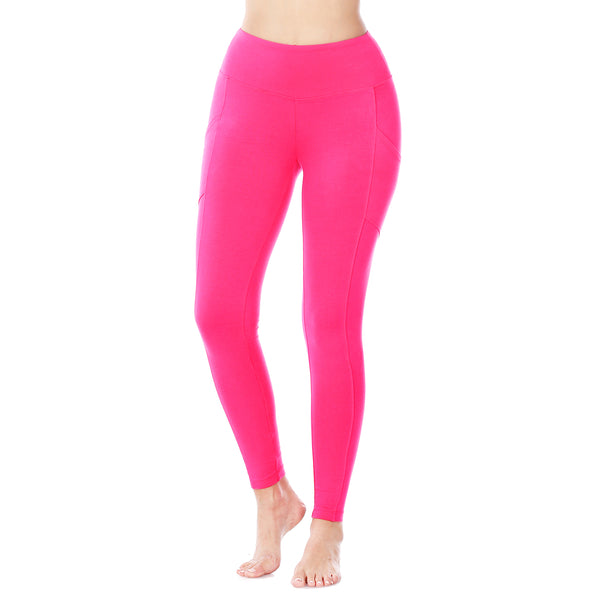 Wide Waistband Leggings with Side Pockets in Hot Pink