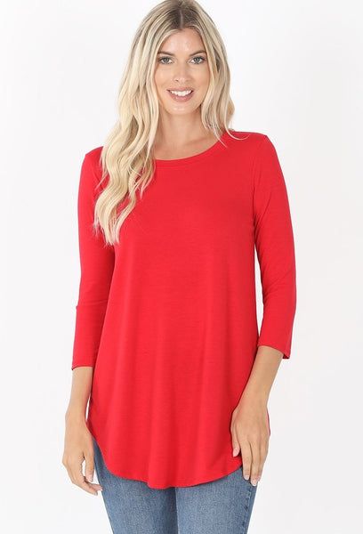 Three Quarter Sleeve Round Neck Round Hem Top in Ruby
