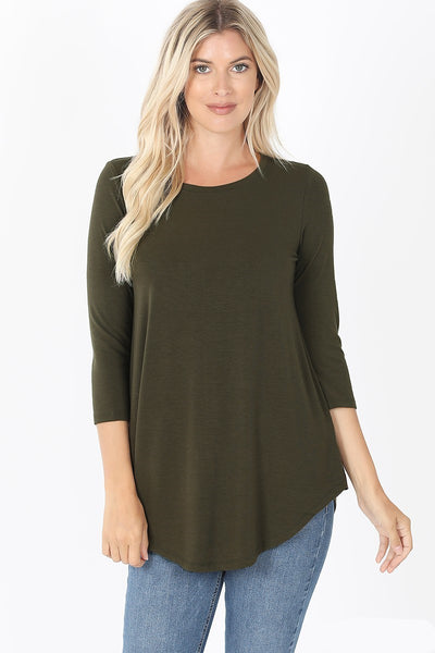Round Neck Round Hem Three Quarter Sleeve Top in Dark Olive