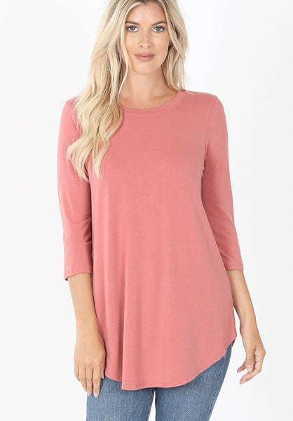 Round Neck Round Hem Three Quarter Sleeve Top in Dusty Rose