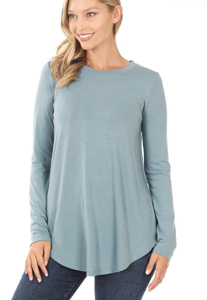 Long Sleeve Round Neck Round Hem Top in Blue Grey