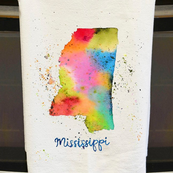 Mississippi Watercolor Tea Towel