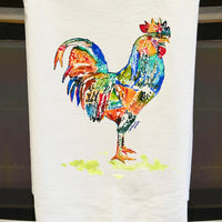 Rooster Stripes Watercolor Tea Towel