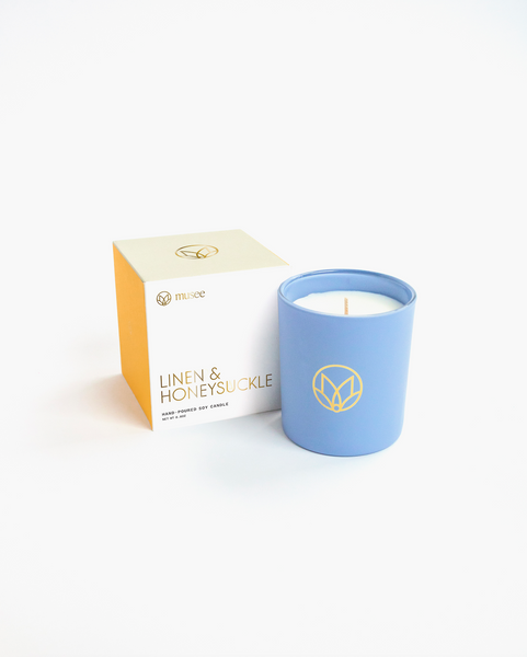 Linen & Honeysuckle Soy Candle in Gift Box | Musee Bath
