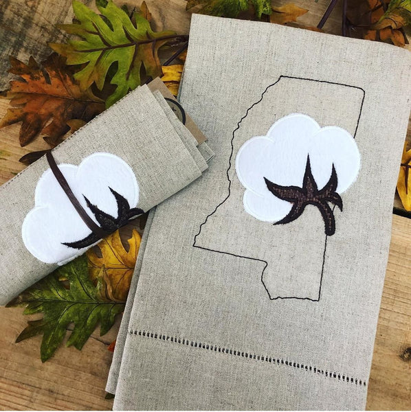 Mississippi Cotton Boll Linen Hand Towel