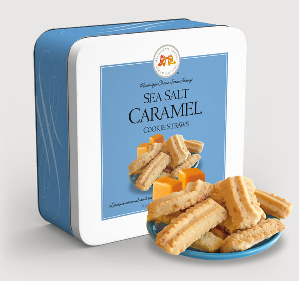 Sea Salt Caramel Cookie Straws 10oz Gift Tin | Mississippi Cheese Straw Factory