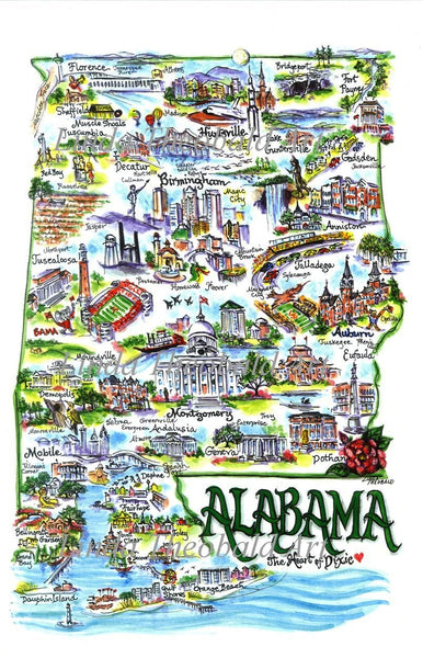 State of Alabama Signed Limited Edition Print by Linda Theobald Art Dbl Matted Dark Green