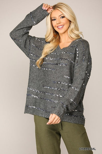 Charcoal Textured V-Neck Sweater