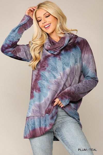 SALE! Tie Dye Turtle Neck Casual Top in Plum/Teal Mix