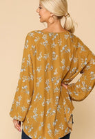 SALE! Floral Printed Smocking Detail Button Down Tunic Top