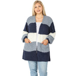 PLUS Color Block Balloon Sleeve Popcorn Cardigan in Blue