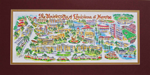 University of Louisiana at Monroe Limited Edition Art Print by Linda Theobald