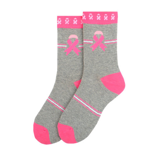 Women's Breast Cancer Awareness Grey Socks