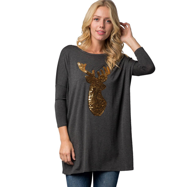 SALE! Long Sleeve Sparkly Reindeer Christmas Shirt