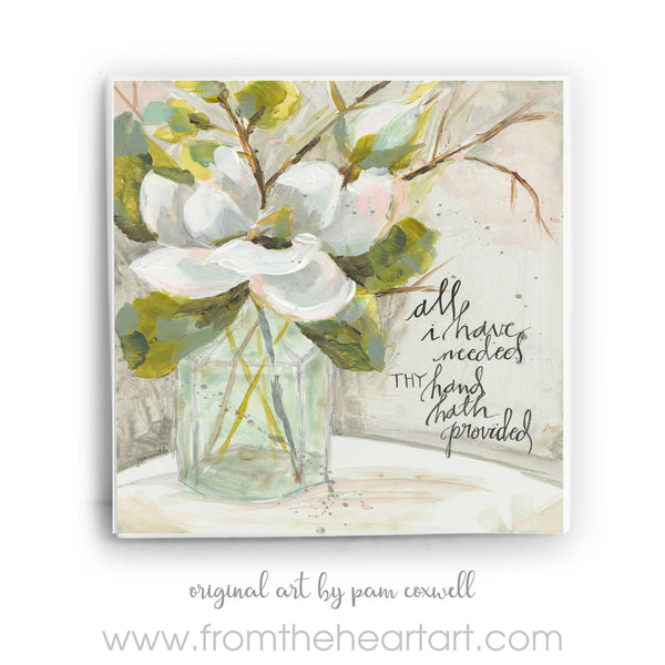 From The Heart Art - Magnolia and Bottle Ceramic Tiles