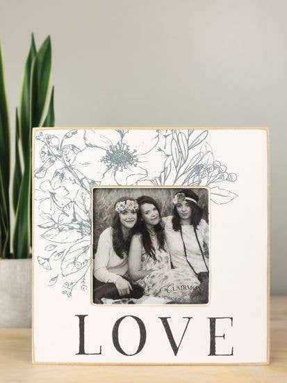 "Love Floral Square Wooden Frame for 4"" x 4"" Photo"