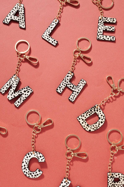Genuine Leather Cheetah Print Initial Key Chain