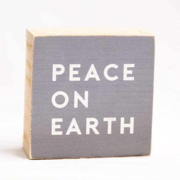 "SALE! Peace on Earth Christmas Wood Block 6"" x 6"" Shelf Sitter"