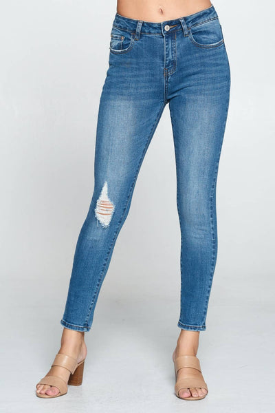 Kylie Distressed Medium Washed High Rise Skinny Jeans