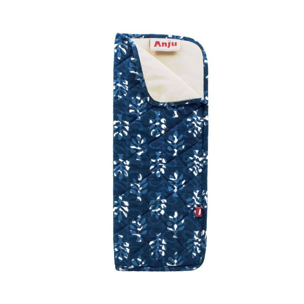 Indigo Palms Quilted Fabric Flat Iron Cover