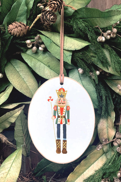 Nutcracker Wooden Oval Ornament | Clairmont & Co