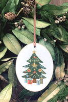 Christmas Tree Wooden Oval Ornament | Clairmont & Co