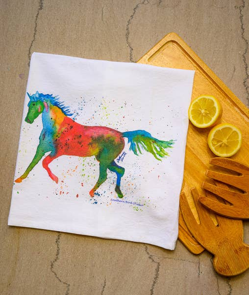 Horseplay Watercolor Print Towel | Southern Bird Studio