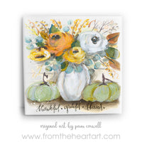 Thankful Grateful Blessed Fall Floral Ceramic Tile - From The Heart Art