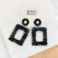 Raffia Wrapped Dangle Earrings in Black
