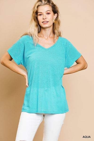 Linen Blend Striped Short Sleeve V-Neck Top