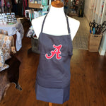 Dark Grey Unisex Apron Embroidered with Crimson and White A