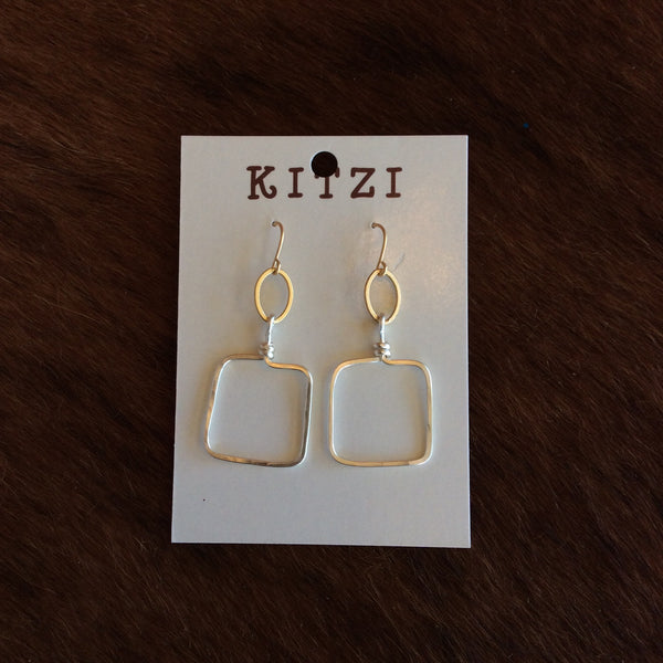 Small Silver Open Square Earrings | Kitzi