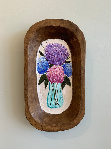 PREORDER - Hydrangeas in Vase - Hand Painted Large Dough Bowl