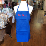 "Blue Unisex Apron Embroidered with ""Ole Miss"" in Red"