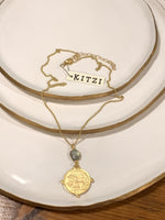 Worn Gold Coin and Labrodite Pendant Necklace | Kitzi