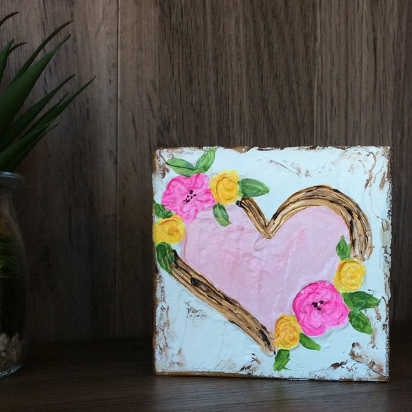 Pink Heart with Flowers on Textured Painted Wood Block
