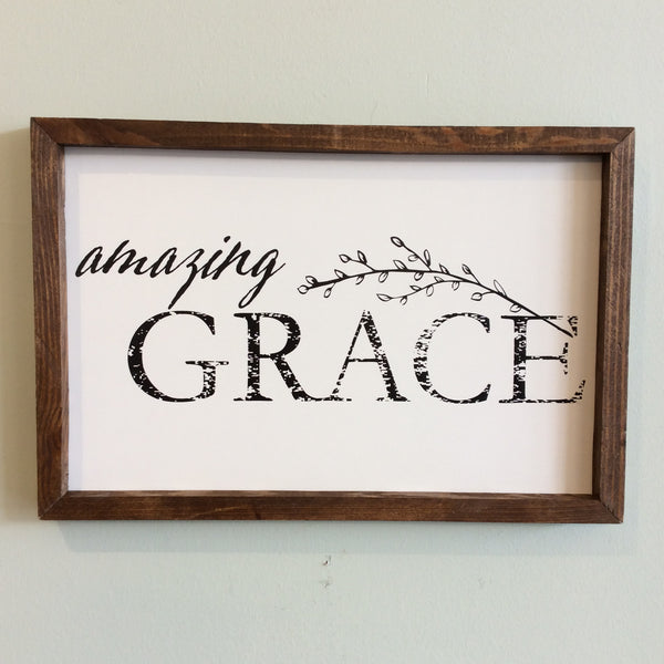 Amazing Grace Framed Wood Sign 12x18