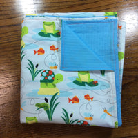 Reversible Flannel Toddler Blanket | Turtles Frogs and Fishes